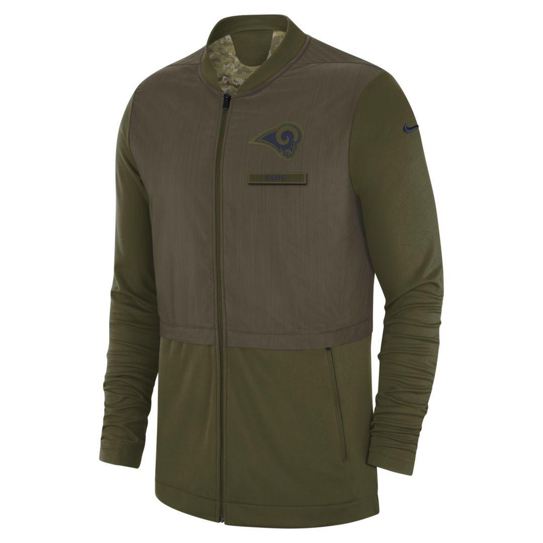5b4ea0f3c7b Nike Elite Hybrid Salute to Service (NFL Rams) Men s Full-Zip Jacket Size M  (Olive Canvas)