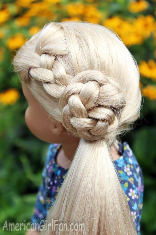 Doll Hairstyle Flower Braid Side Ponytail Americangirlfan American Girl Doll Hairstyles American Girl Hairstyles Flower Girl Hairstyles