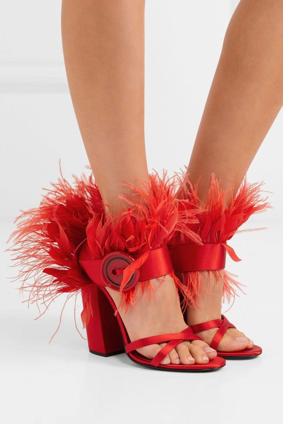 ea9e3bec42a Prada - Feather-trimmed satin sandals