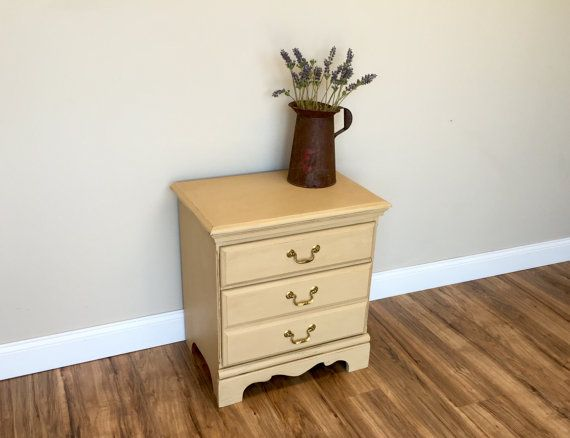 Solid Wood Nightstand   Distressed Furniture   2 Drawer Nightstand    Bedroom Night Stand   Country
