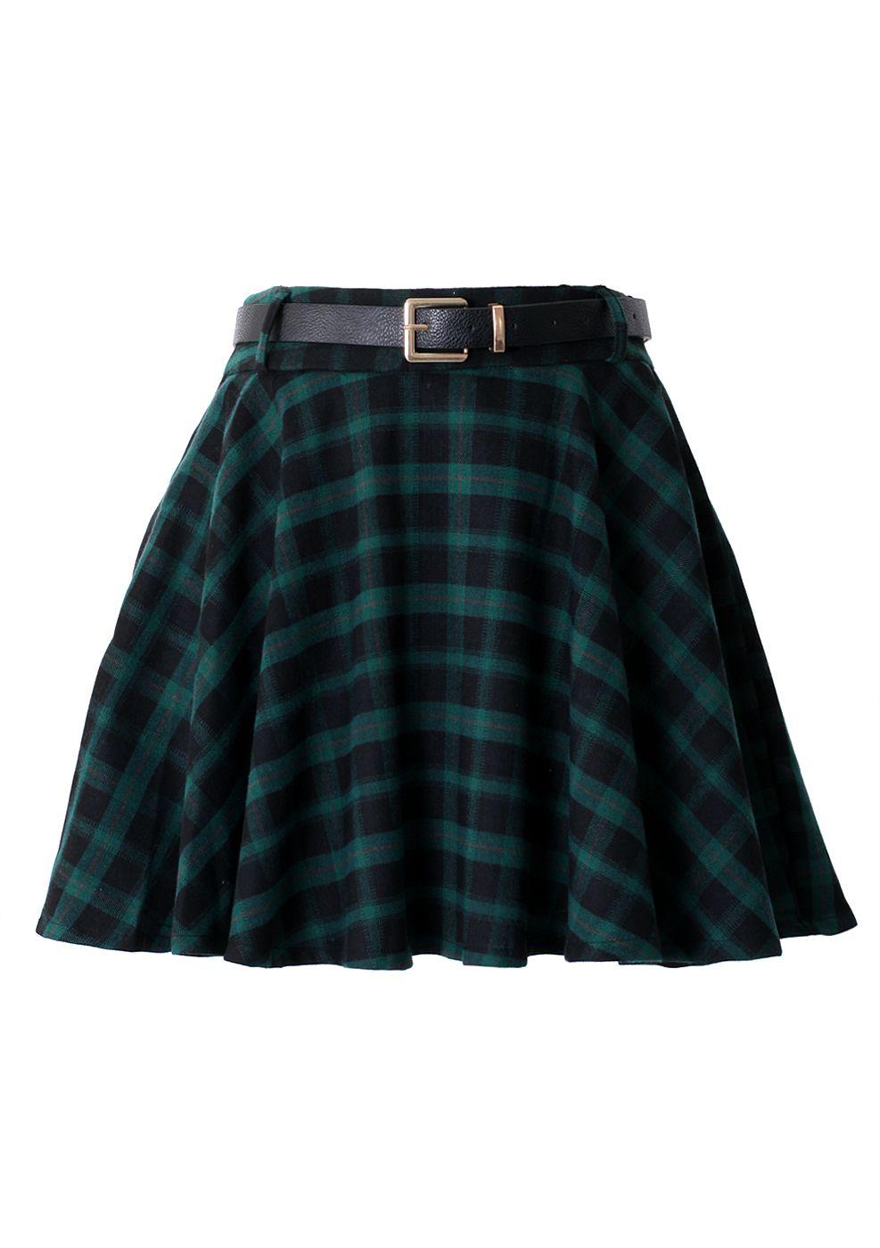 Green Plaid Skater Skirt with Belt