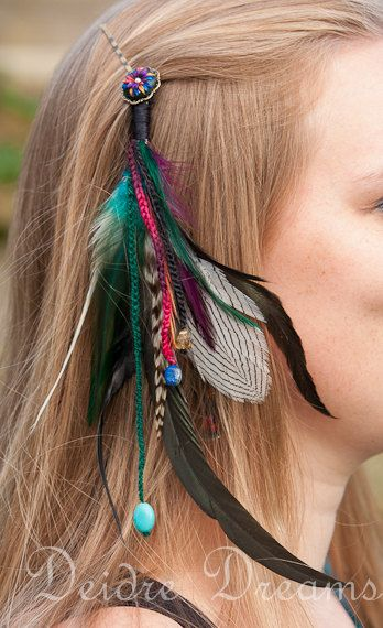 Long Chain Natural Earthy Feather Hair Extension Hair Clip Indian Hippy Tribal