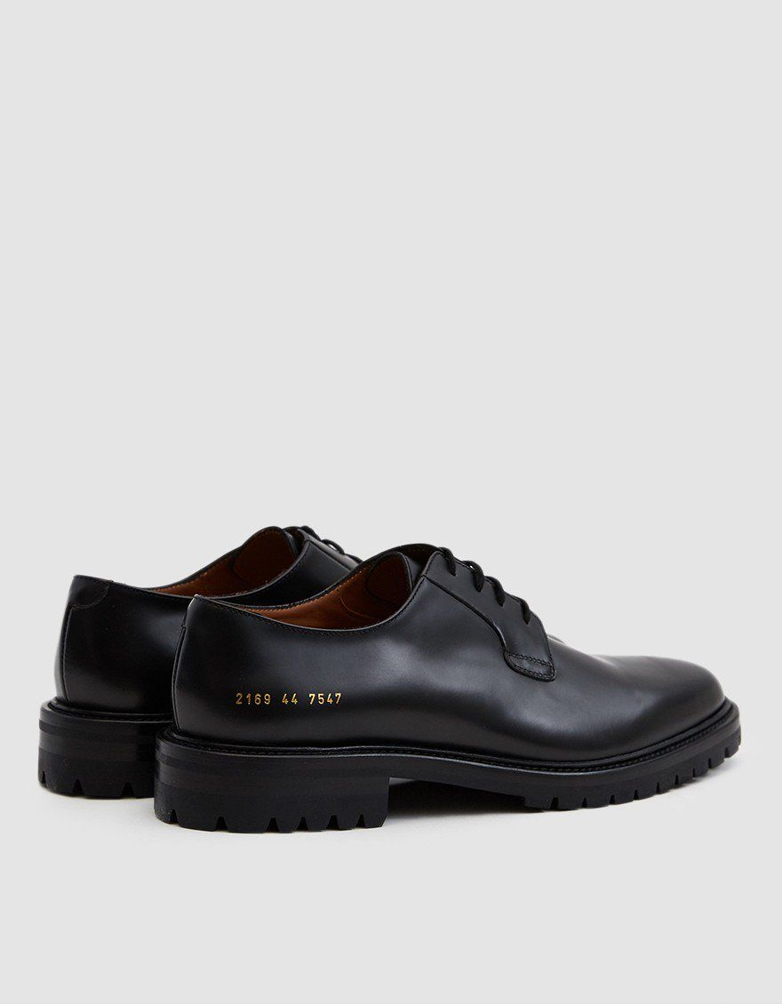 20b6a1667a1235 Common Projects   Derby Shoe in Black Leather