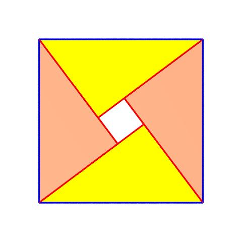 Pythagoras Theorem - variant : c ^ 2 = (b - a) ^ 2 + 2 a b . Marc Fleurent.