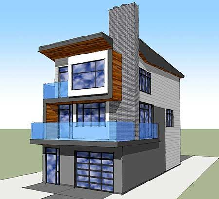 Plan 84903sp narrow lot contemporary home plan for Contemporary beach house plans