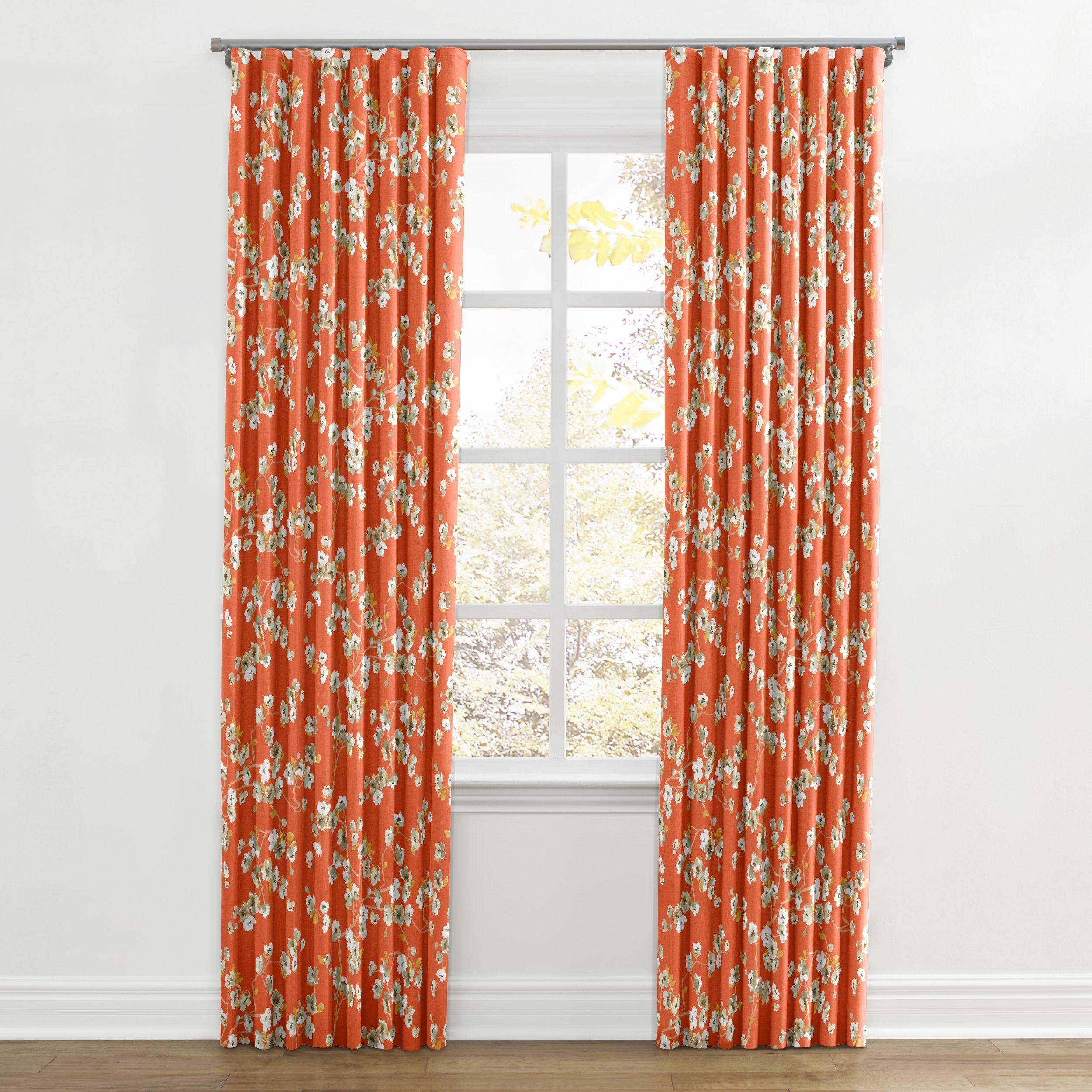 Drapery, Curtains, Coral Orange