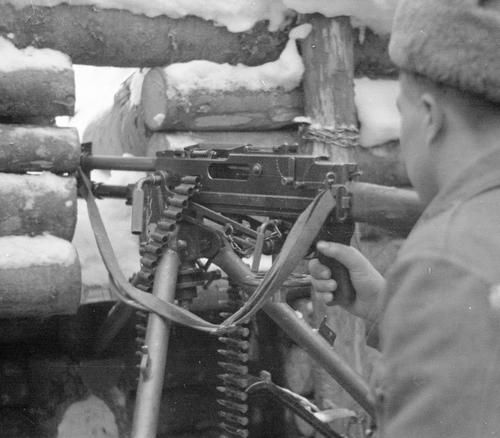"Machine gun designed by Aimo Lahti. 50th Infantry Regiment, Svir River, 3 December 1942.  This rare picture shows one of only 30 L-41 ""Sampo"" machine guns issued to frontline units."