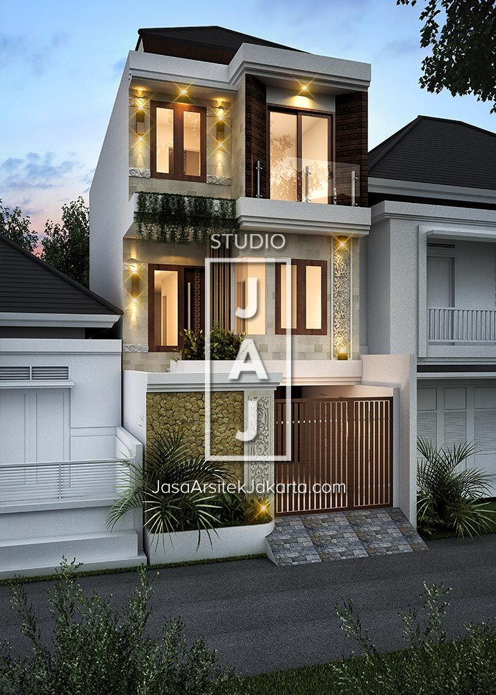 Desain Rumah 2 Lantai Luas Bangunan 200m2 Style Bali Modern Ibu Hamidah Jakarta Home Fashion Rumah Desain Rumah Eksterior