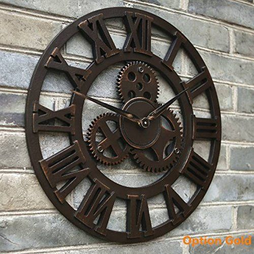 Clock Mania Gold Oversized Large 3d Retro Rustic Decorative Luxury