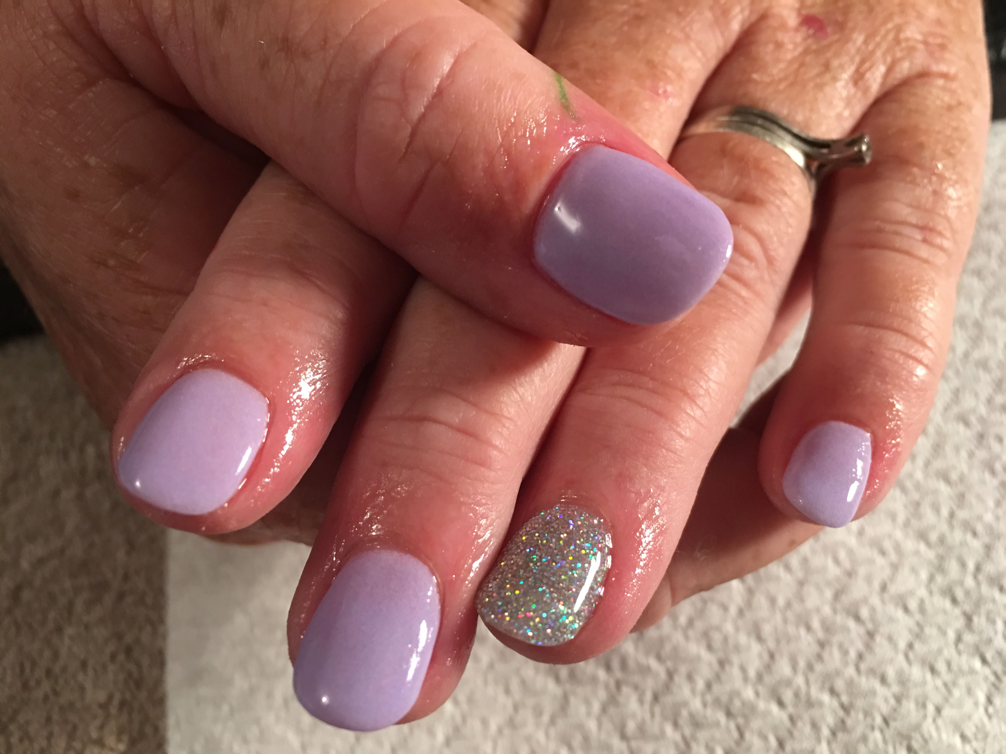 Blue glitter ombr 233 stiletto nails - Mauve Sns With Glitter Feature Nail