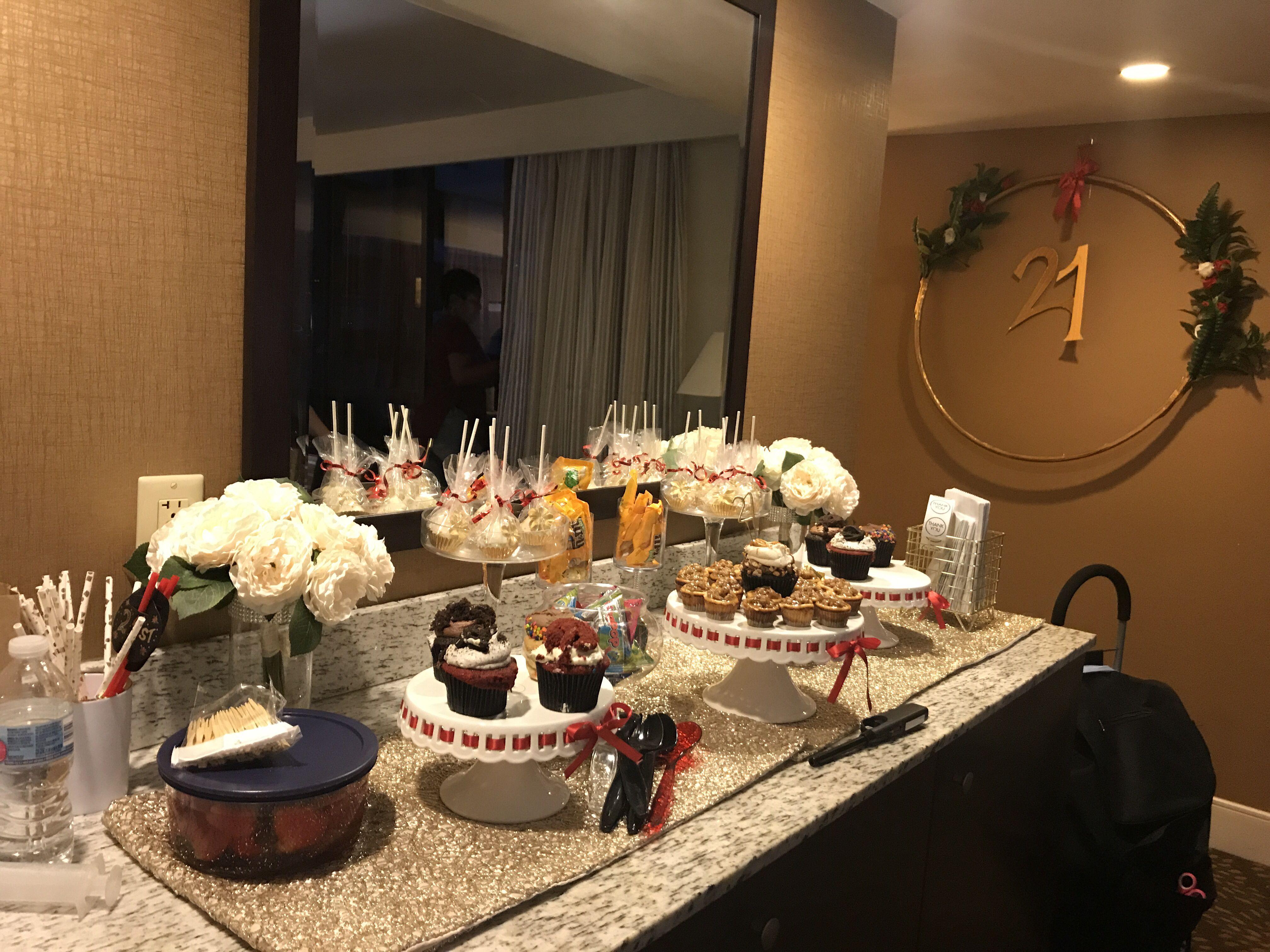21st Birthday Celebration Small Desserts Dessert Table Hotel Party