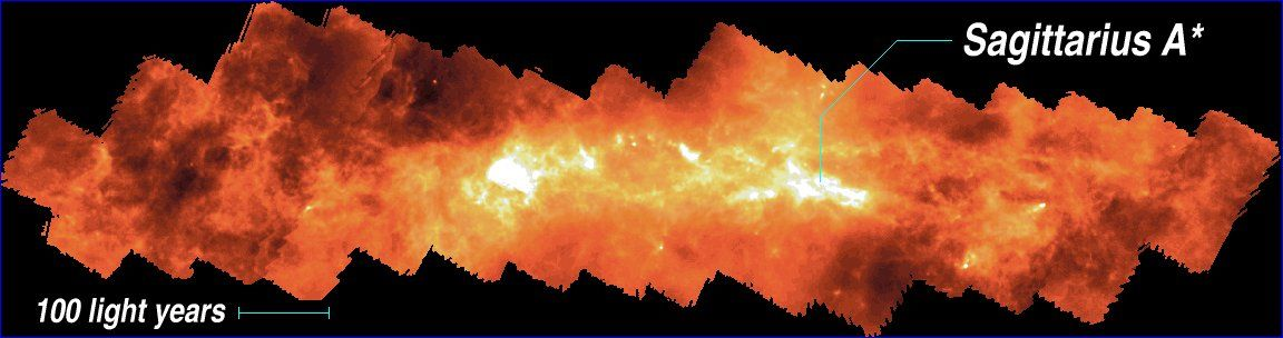 Galactic centre map with in position of +Sagittarius A*.
