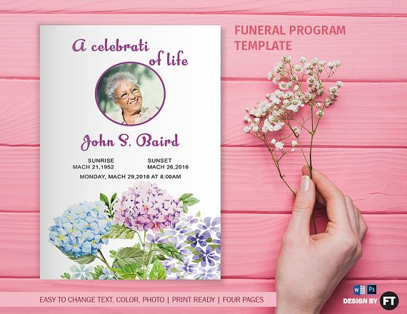 Funeral Program Template Printable Funeral Program Memorial - how to make a funeral program in word