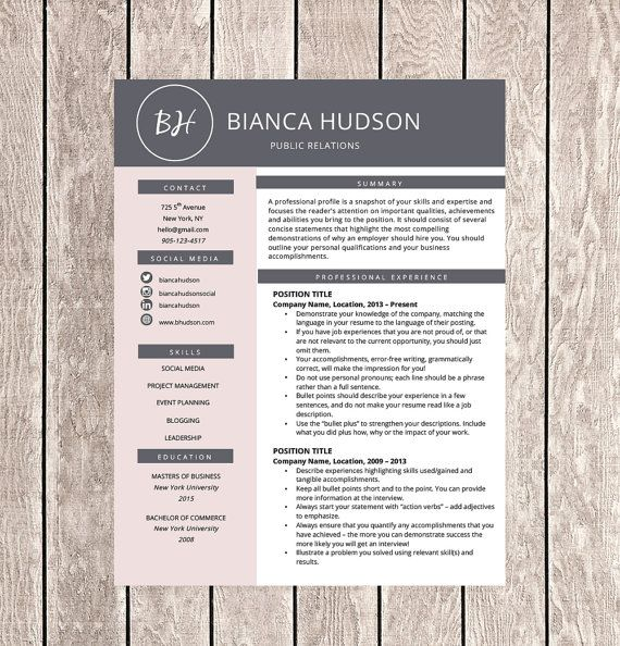 Creative Resume Template for Word (1, 2 or 3 Page Professional - bullet points resume