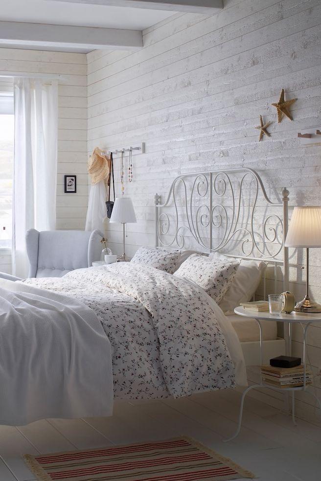 Leirvik Bettgestell Weiss Luroy 140x200 Cm In 2020 White Bed Frame White Metal Bed Frame Ikea Bedroom
