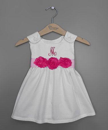 Hot Pink Rosette Sash Initial Jumper - Infant, Toddler & Girls #zulily #zulilyfinds