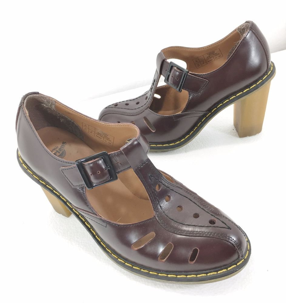 Dr Doc Martens Womens 6 US 4UK Arianna Oxblood Leather T-Strap 3