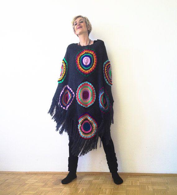 Poncho più dimensioni lana Cape donna grigio grigio di subrosa123