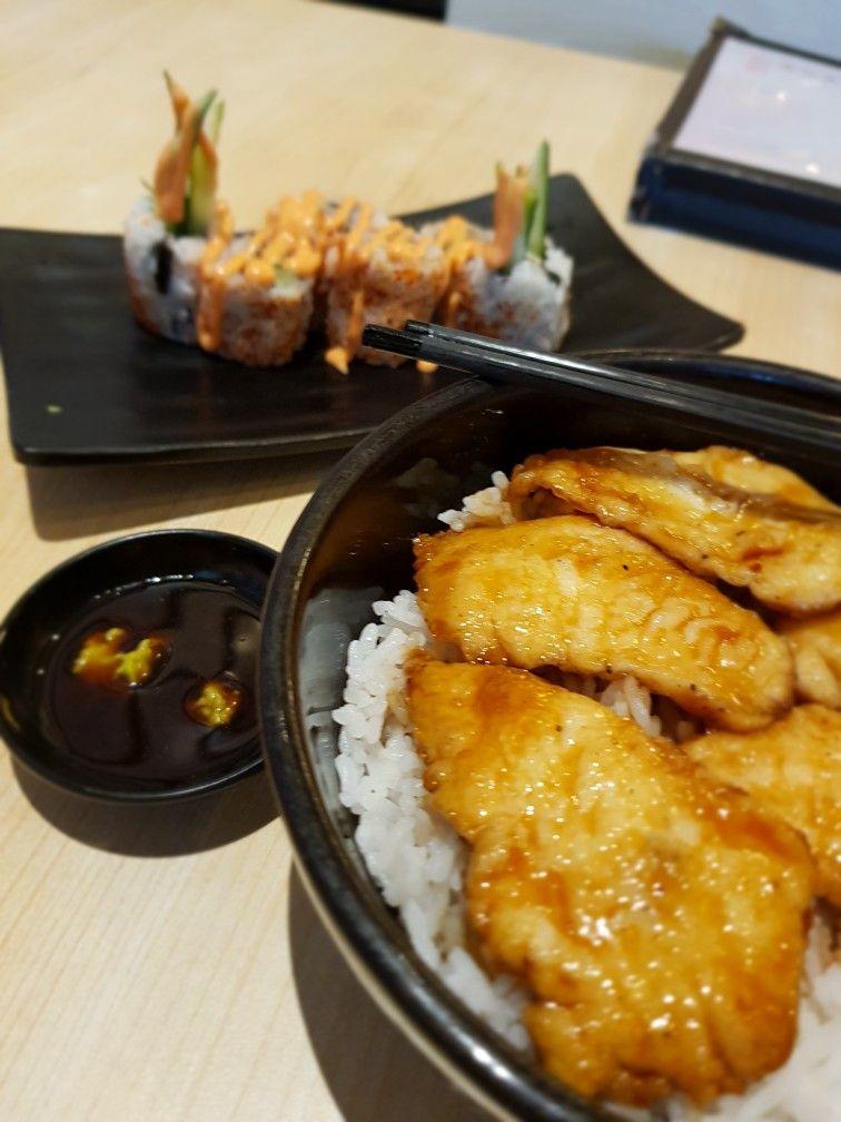 Gindara Teriyaki Don And Spicy Salmon Skin Roll