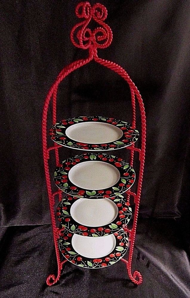 4 TIERED SERVING TRAY - Red Twisted Wrought Iron Stand w/Stoneware Plates SAKURA $34.99 & 4 TIERED SERVING TRAY - Red Twisted Wrought Iron Stand w/Stoneware ...
