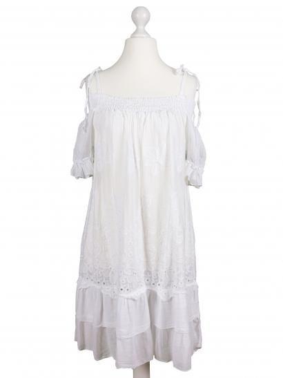 Damen Tunika Kleid mit Lochstickerei, weiss