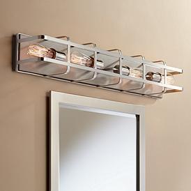 "Photo of Possini Euro Esme 33 1/4 ""W brushed nickel 4-light bathroom lamp – # 66C28   Lamps Plus"