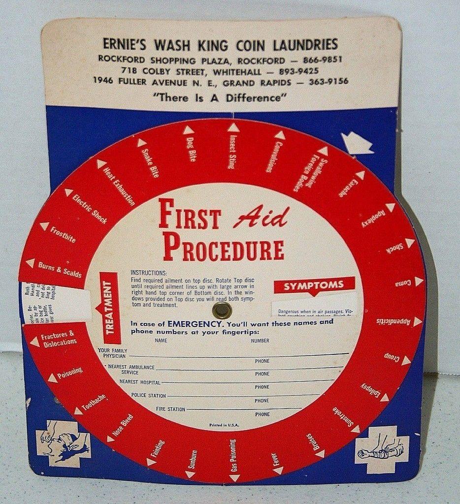 Ernie S Wash King Coin Laundries First Aid Procedure Wheel 1970s