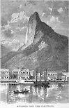 Desenho de 1879 da enseada do Botafogo, na Baía de Guanabara com o Corcovado ao fundo, Rio de Janeiro - 1879 Drawing of Botoafogo cove, Guanabara Bay, and Corcovado Mountain at the background. Rio de Janeiro, Brazil.