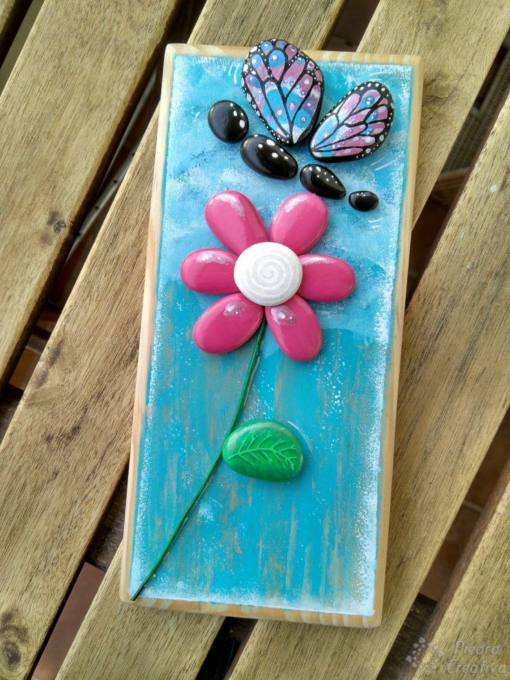 Como pintar flores con piedras cuadros con piedras - Ideas para pintar cuadros ...