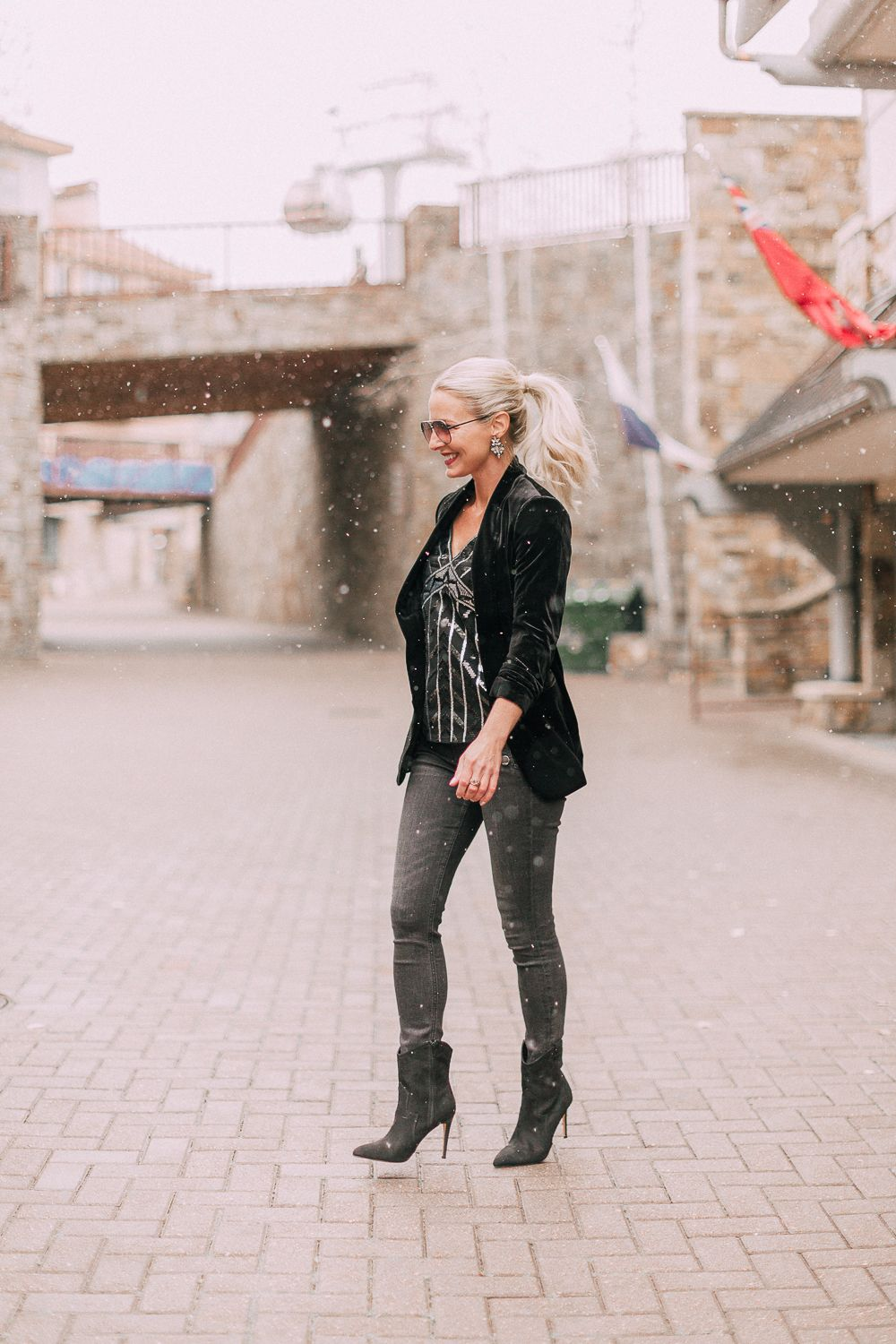 51a91f68c60 Unexpected holiday party outfits featuring gray jeans
