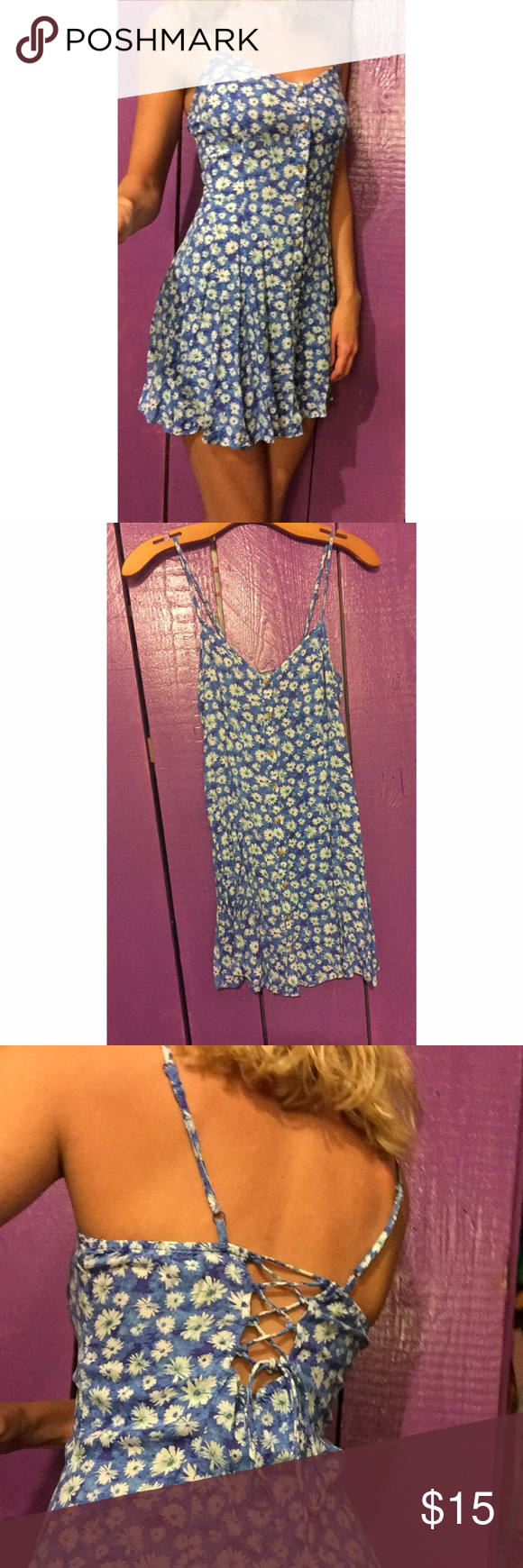"""Floral Button Up Dress This is an incredibly flattering dress! The tie back allows you to loosen it or tighten it at the top! Dress just a little too short for me (5'7""""). Worn only once! 100% viscose. Ask any questions! American Eagle Outfitters Dresses Mini"""