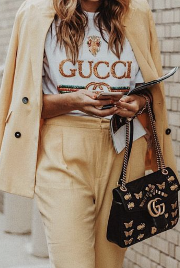 Gucci Outfit Yellow Pantsuit Gucci Tee Gucci Marmont Bag Womens Designer Fashion Gucci Outfits Gucci Tee Fashion Clothes Women