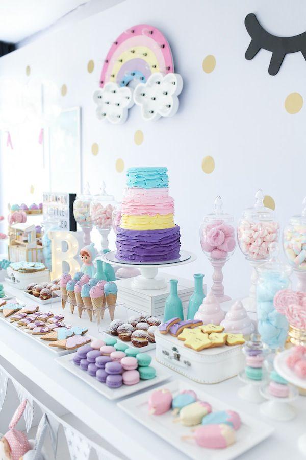 Mesa De Doces Para Festa Linda Com Tema Doces Sonhos Tons Pasteis Candy Colos Para O Aniversario De  Ano Da Branca Filha Da Fotografa Rejane Wollf