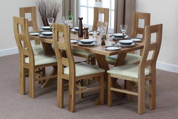 X Solid Oak Crossed Leg Dining Table 6 Wave Back Cream Leather Chairs Furniture Land