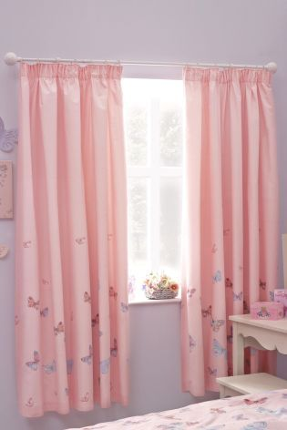 Embellished Butterfly Pencil Pleat Curtains Bedroom