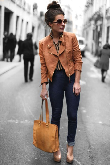 high waisted jeans paired with cropped leather jacket