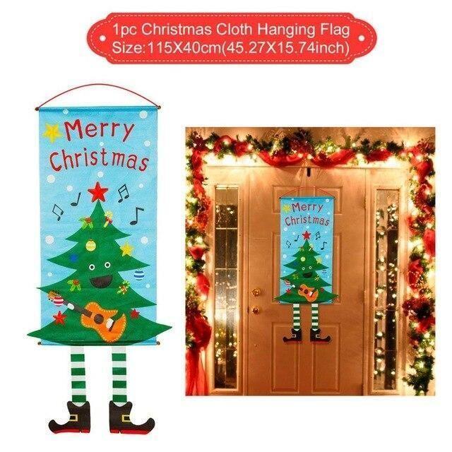 Kreative Weihnachtsvorhang Couplet dekorative Tür Banner – Hängende Flagge 03