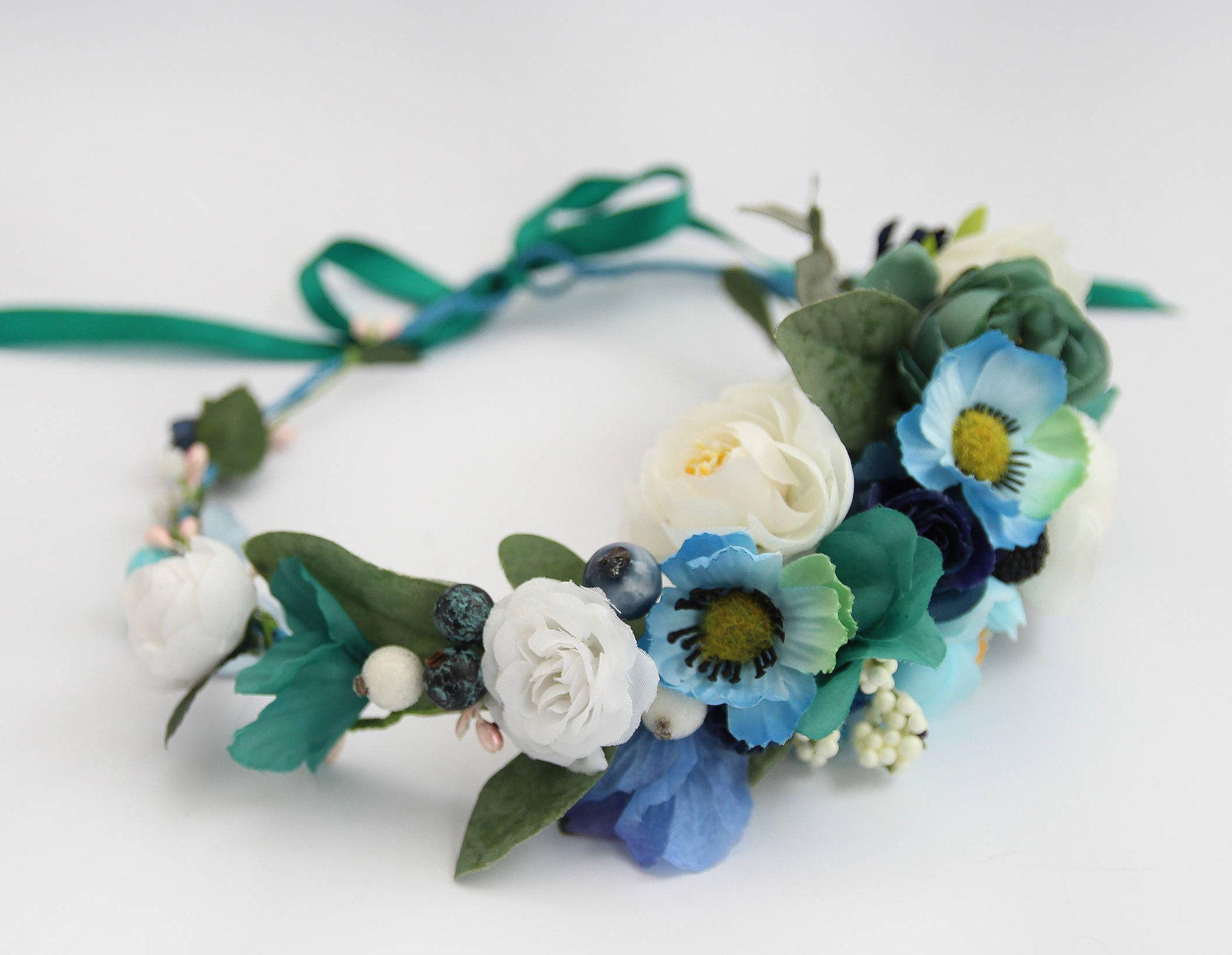 Blue wedding flower crown bridal floral crown white light blue wedding flower crown bridal floral crown white light izmirmasajfo