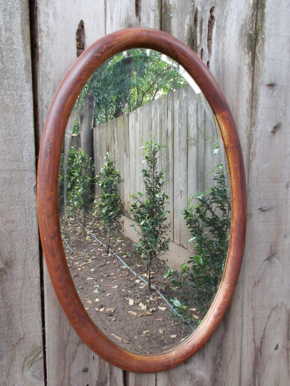 For sale is one large vintage wood oval beveled mirror Large wooden mirrors for sale