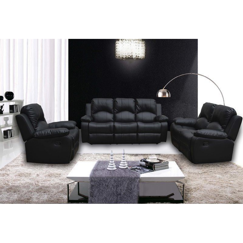 Brilliant 5 Seater Sofa Set Black Faux Leather Foam Recliner Seat Dailytribune Chair Design For Home Dailytribuneorg