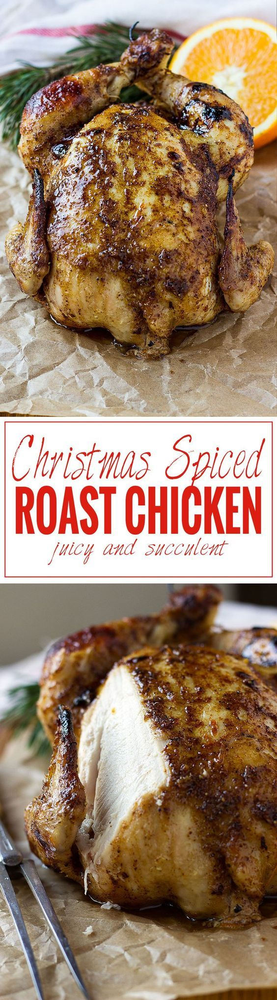 A Christmas Spiced Roast Chicken With The Essential Christmas Cinnamon Gloves Star Anise And O Christmas Food Dinner Christmas Spices Holiday Chicken Recipes