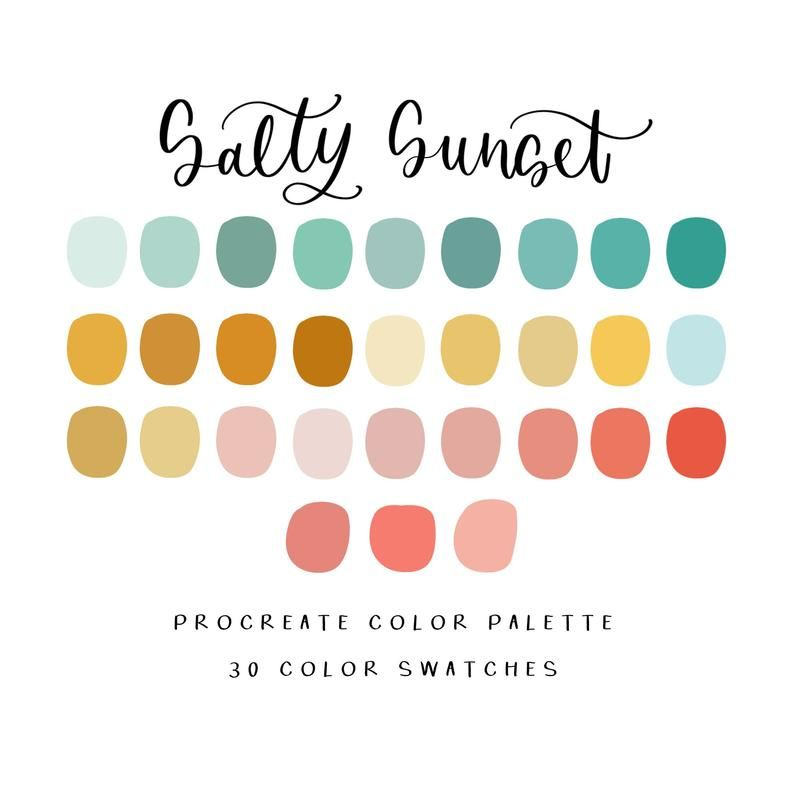 Salty Sunset procreate color palette/procreate tools/instant | Etsy