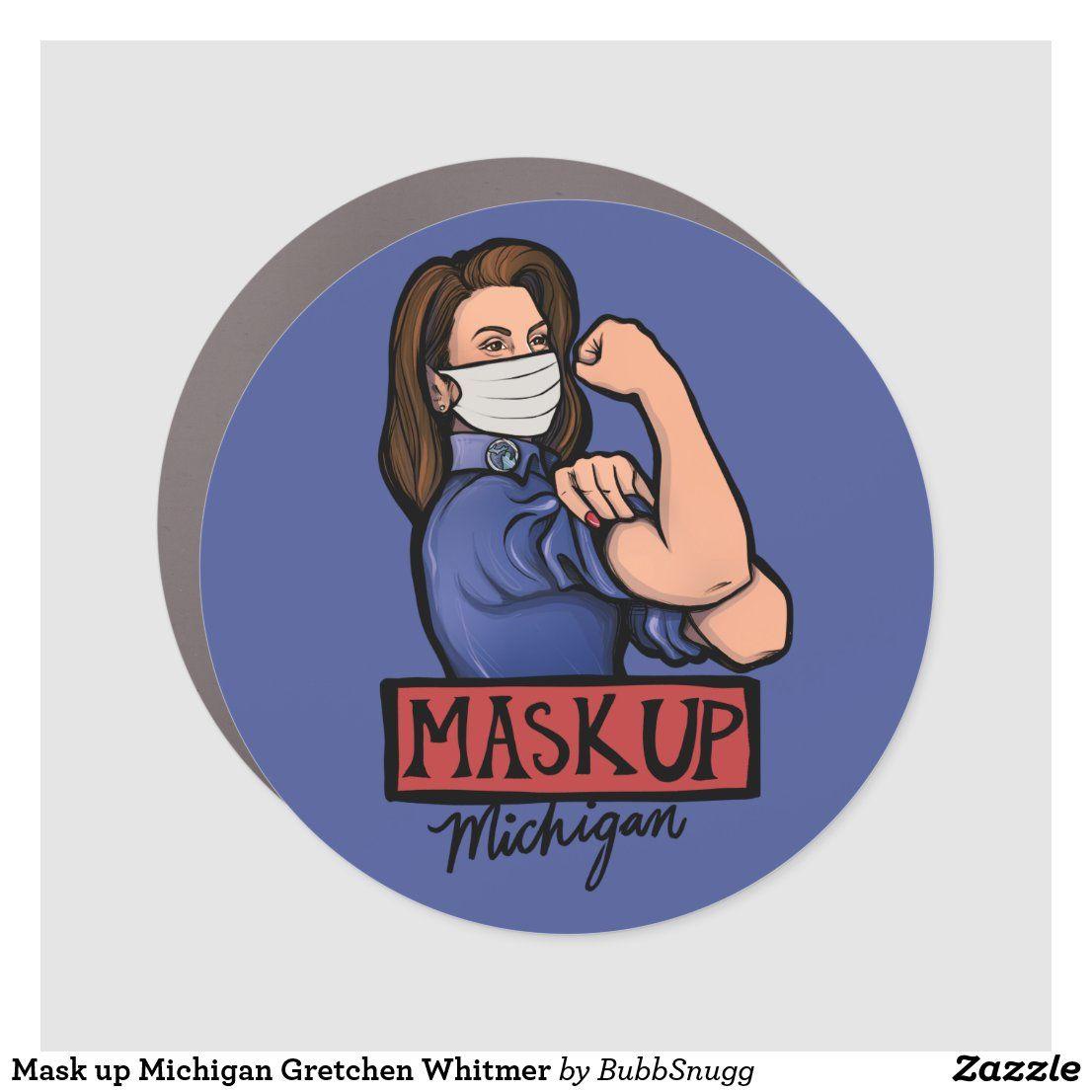 Mask Up Michigan Gretchen Whitmer Car Magnet Zazzle Com In 2021 Car Magnets Mask Bumper Stickers [ 1106 x 1106 Pixel ]
