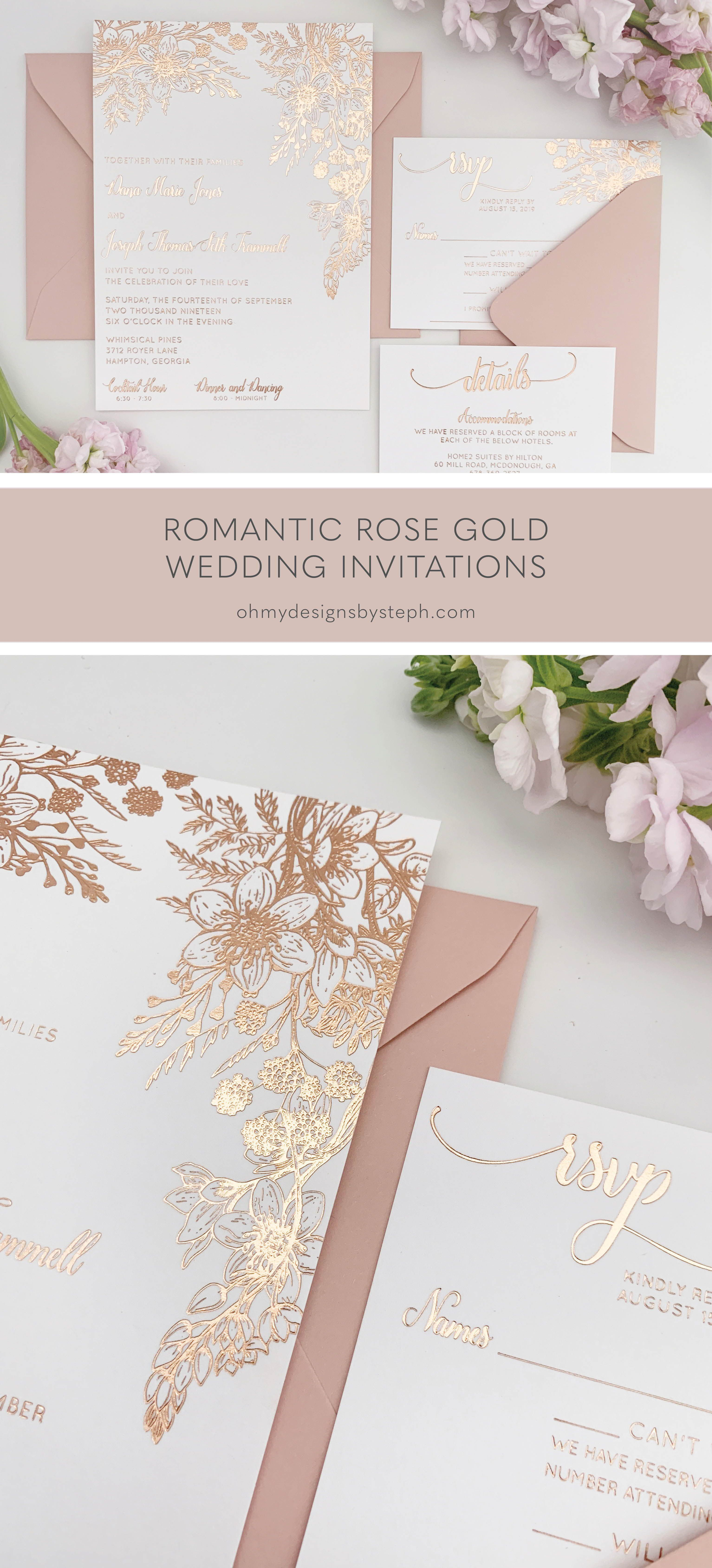 Rose Gold Wedding Invitations With Foil Florals Oh My Designs By Steph Rose Gold Wedding Invitations Floral Wedding Invitations Gold Wedding Invitations