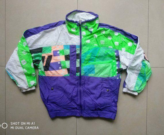 a65059c3c39909 Vintage 90s shell COLORFUL WINDBREAKER Jacket   old school retro 90s 80s  nike jogging fila puma outdoor bomber sweatshirt adidas   Size S Size S  Condition ...