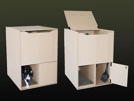Hidden Litter Box Cabinet They Have To Go In And Up So Less Is