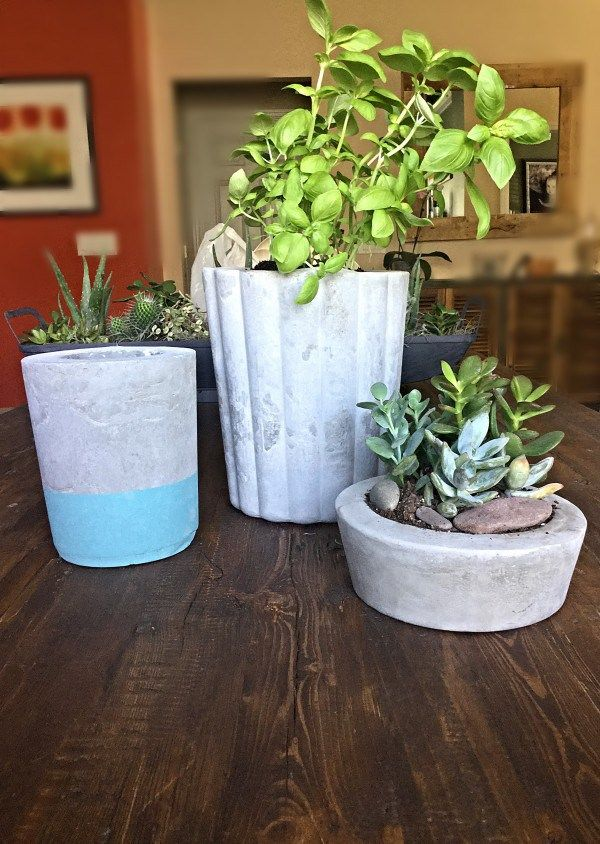 Diy Cement Craft Diy Cement Planters Cement Crafts