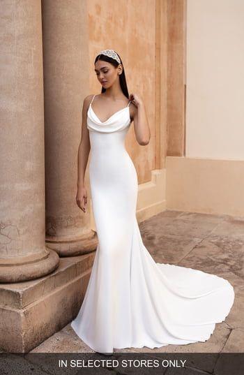 Enjoy exclusive for Pronovias Antiope Cowl Neck Crepe Trumpet Wedding Dress online – Theperfectclothing