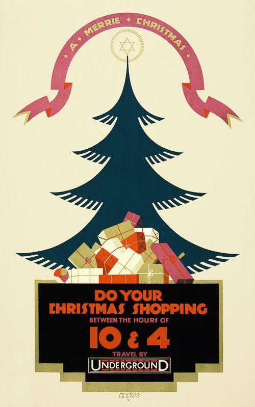 a merrie christmas do your christmas shopping between the hours of 10 4 travel by underground a christmas tree is surrounded by gifts in this