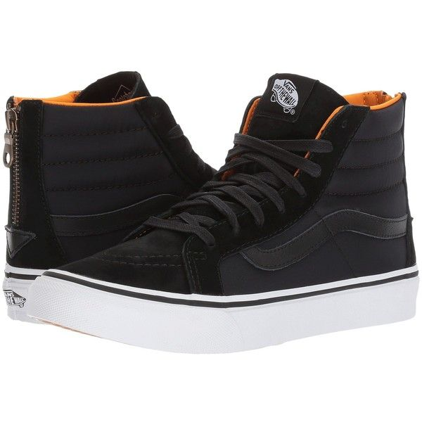 Vans SK8-Hi Slim Zip ((Boom Boom) Black True White) Skate Shoes ( 85) ❤  liked on Polyvore featuring shoes 9a5e2a916